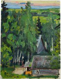 Artist: Buchkin, Petr Dmitrievich : Пейзаж с избой
