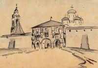 Artist: Noakovsky, Stanislav-Vitold Vladislavovich : Въезд в древнерусский монастырь