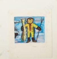 Художник: Дувидов, Виктор Аронович : Иллюстрация к сказке С. Юрмина «Севка меняет квартиру». Мальчик с рыбой