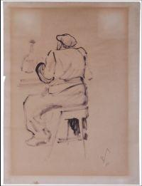 Artist: Galba, Vladimir Alexandrovich : Мужчина, сидящий на табурете