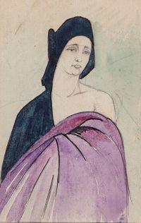 Artist: Chekhonin, Sergey Vasilievich : Женский портрет в стиле «модерн» (на оборотной стороне «Ангел»). Лист из блокнота