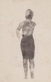 Artist: Chekhonin, Sergey Vasilievich : Девушка со спины (на оборотной стороне «Сельский пейзаж»). Лист из блокнота