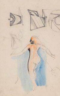 Artist: Chekhonin, Sergey Vasilievich : Обнаженная девушка со спины в окружении набросков посуды (на оборотной стороне «Скачки на ипподроме»). Лист из блокнота