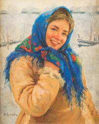 Художник: Сычков, Федот Васильевич : A girl with a blue scarf