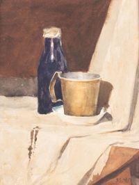 Artist: Sinitsky, Vladimir Mikhailovich : Stillleben mit blauer Flasche und Krug