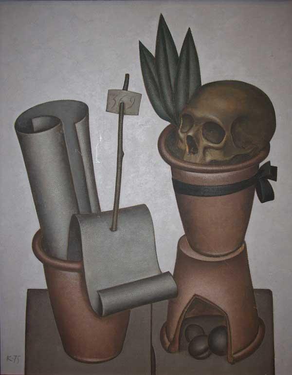ДМИТРИЙ КРАСНОПЕВЦЕВ Натюрморт с цветочными горшками и черепом