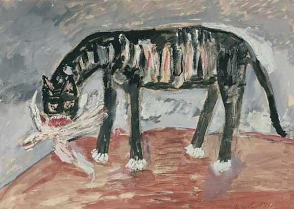 ВЛАДИМИР ЯКОВЛЕВ. Кошка с птицей. 1981