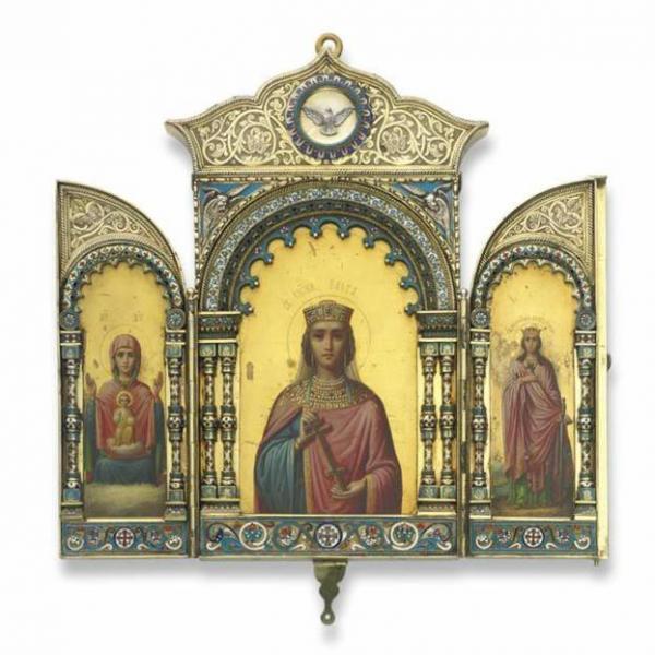 Золотая и серебряная вызолоченная икона-складень