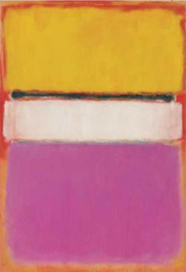 МАРК РОТКО Белый центр (желтый, розовый и бледно-лиловый на темно-розовом). 1950