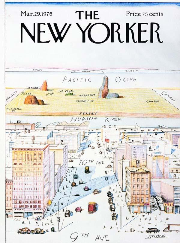 СОЛ СТЕЙНБЕРГ Вид на мир с 9-й авеню. Обложка журнала New Yorker