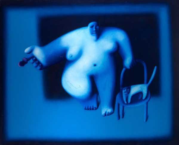 ОЛЕГ ЦЕЛКОВ Женщина с кошкой и бабочкой. 1988