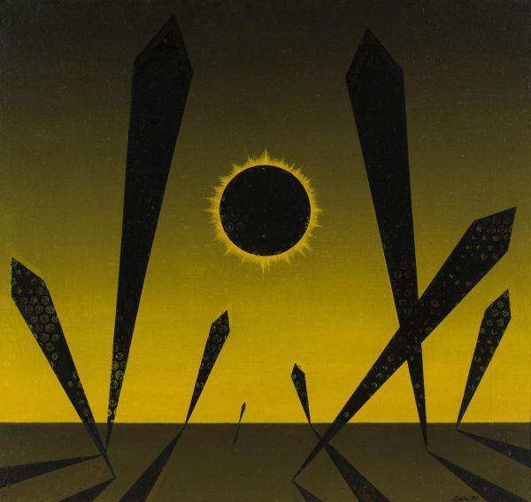 НИКОЛАЙ ВЕЧТОМОВ Черное солнце. 1990. Холст, масло