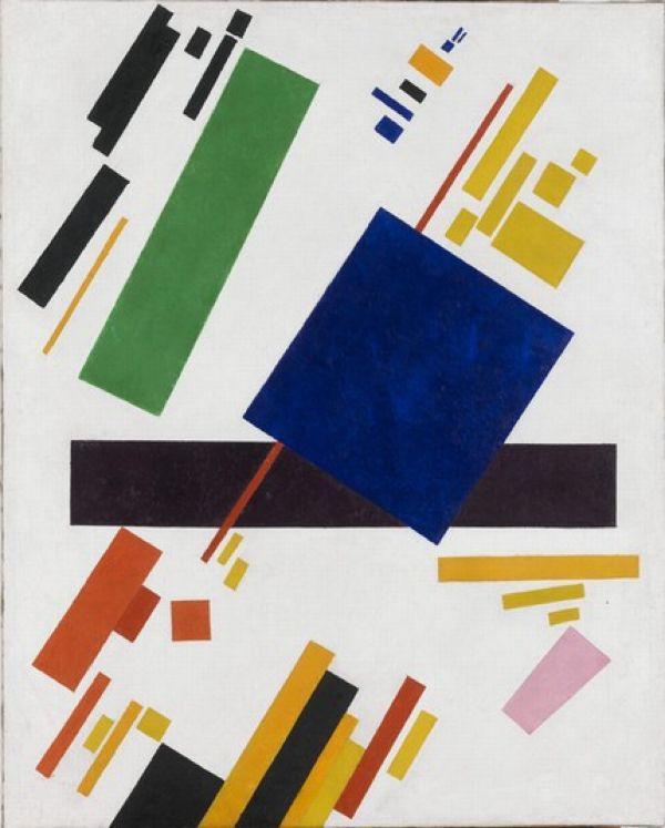 КАЗИМИР МАЛЕВИЧ Супрематическая композиция (синий прямоугольник поверх красного луча). 1916