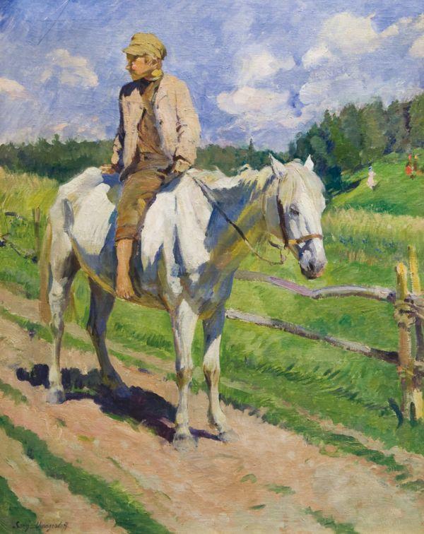 СЕРГЕЙ ВИНОГРАДОВ Мальчик на лошади. 1928