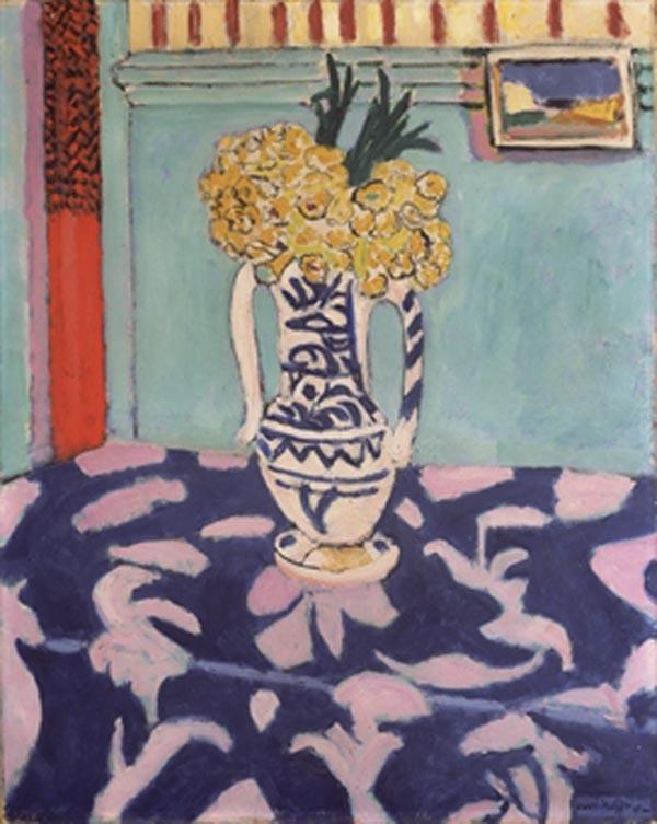 АНРИ МАТИСС Первоцветы на скатерти в синих и розовых тонах