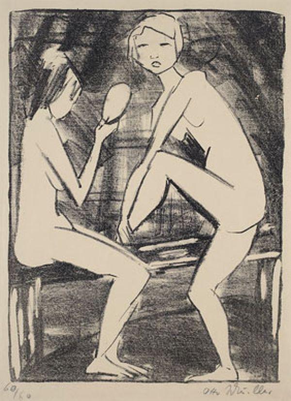 ОТТО МЮЛЛЕР Две девушки с ручным зеркалом. Ок. 1919