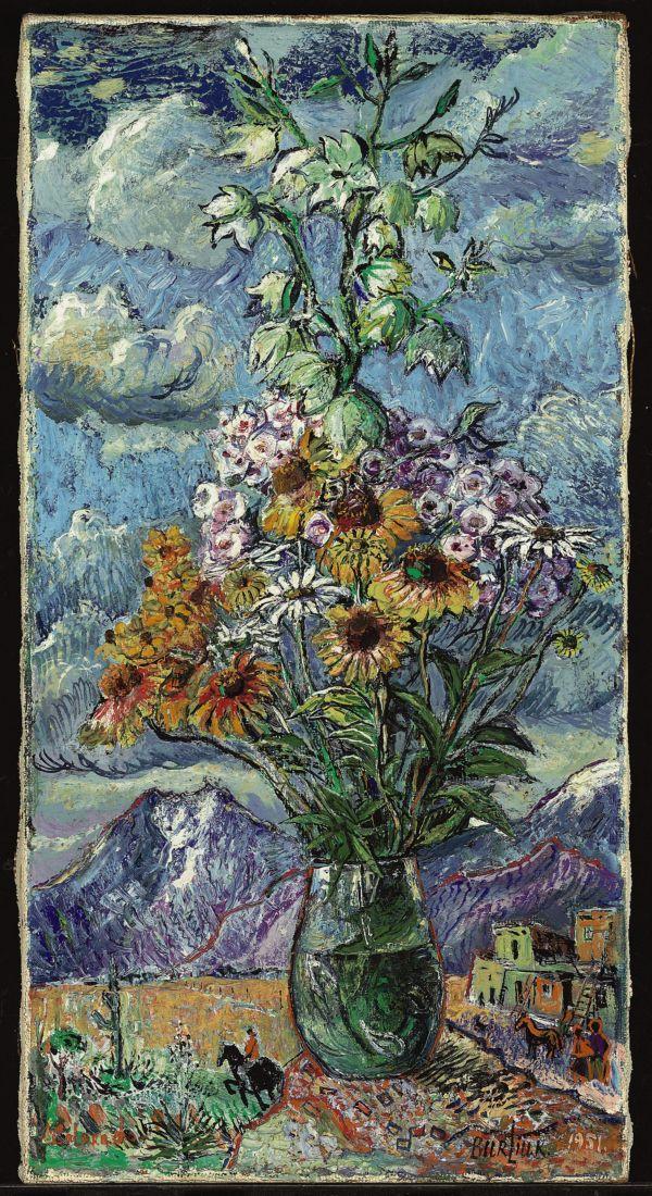 ДАВИД БУРЛЮК Цветы и горы, Колорадо. 1951