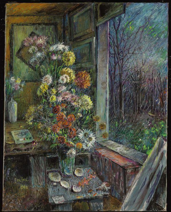 ДАВИД БУРЛЮК Цветы у окна. 1962