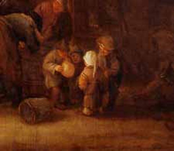 ISAAK van Ostade stabbed svinya. 1645. Fragment