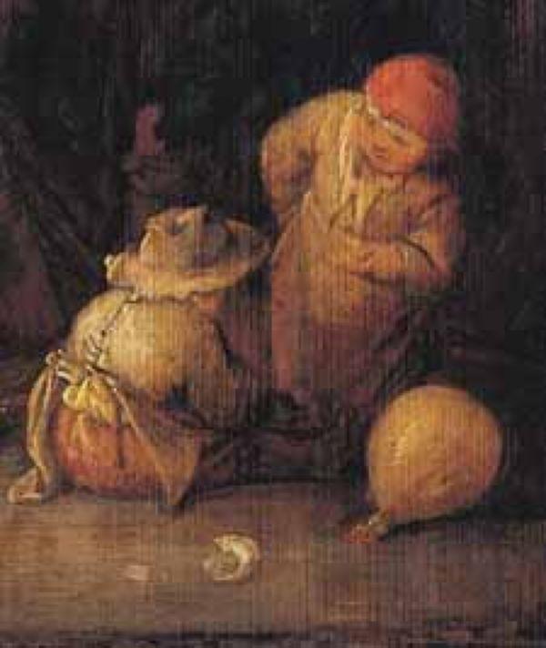 ISAAK van Ostade stabbed svinya. 1642. Fragment