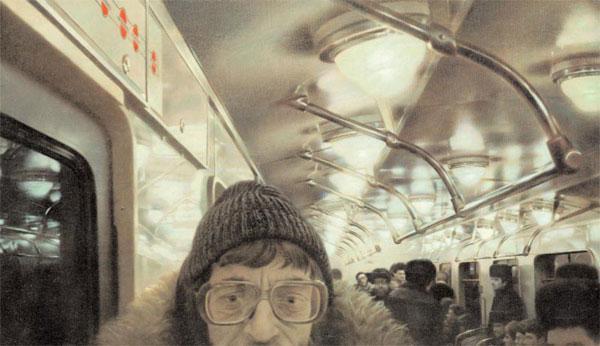 СЕМЕН ФАЙБИСОВИЧ Поэт Лев Рубинштейн. Из цикла «Московский метрополитен». 1987. Холст, масло. 160 х 270