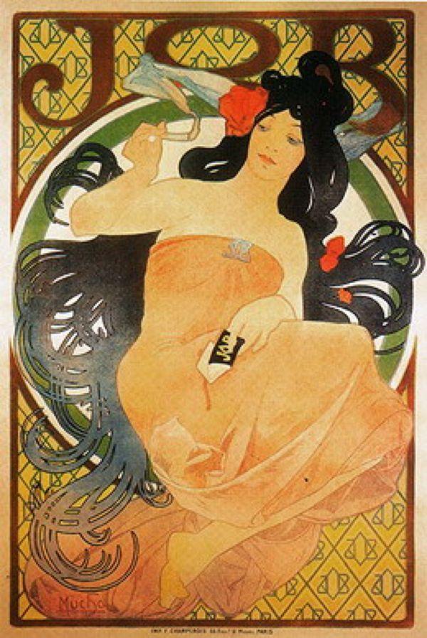 АЛЬФОНС МАРИЯ МУХА Рекламный плакат папиросной бумаги «Жоб». 1898