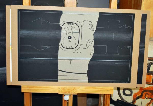 Работа, установленная на мольберте в студии. «Ева»