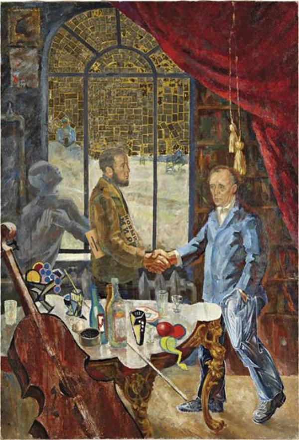 КОМАР  И МЕЛАМИД Встреча Солженицына и Белля на даче у Ростроповича.  1972. Холст, масло, золотая фольга, бумага. 175х 120