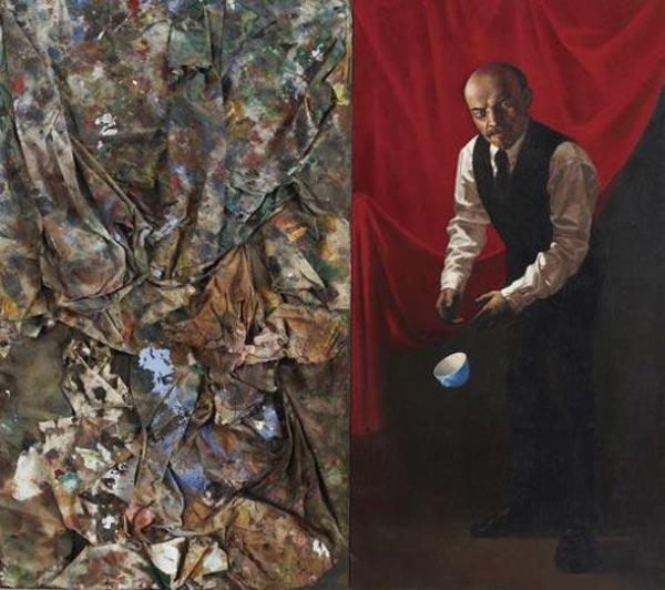 КОМАР И МЕЛАМИД Голубая чашка (Диптих). 1985–1986. Холст,  смешанная техника / Масло, доска. 152,4x 91,4x 8
