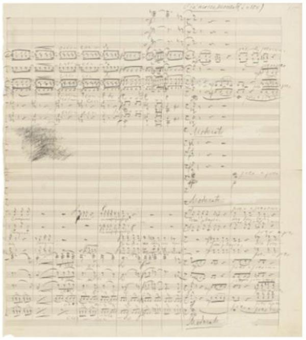 ПЁТР ЧАЙКОВСКИЙ Два фрагмента рукописной партитуры оперы «Мазепа» (1883) с  полной партией для оркестра