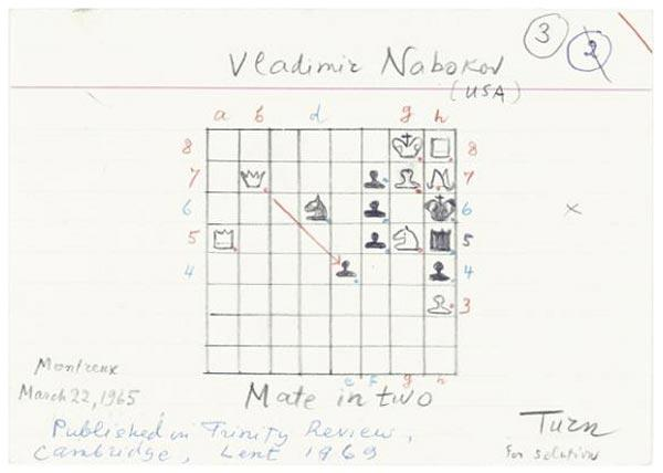 VLADIMIR NABOKOV collection of 58 sketches chess zadach