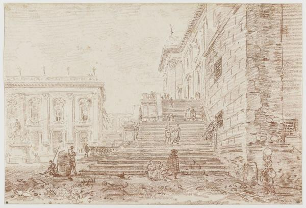 GYuBER ROBERT view of the Capitol Square in Rime. About 1770