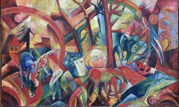 Красная картина с лошадьми. Подделка под Генриха Кампендонка