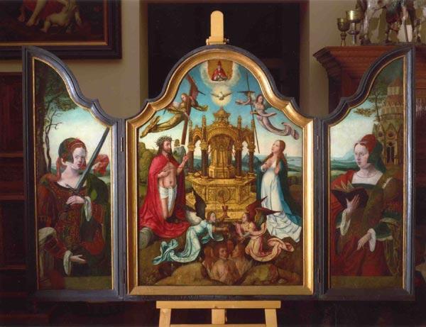 Триптих Новозаветная Троица с мистическим источником животворящей крови  Христа (центральная часть). Дерево, масло, темпера, позолота, 102 х 74