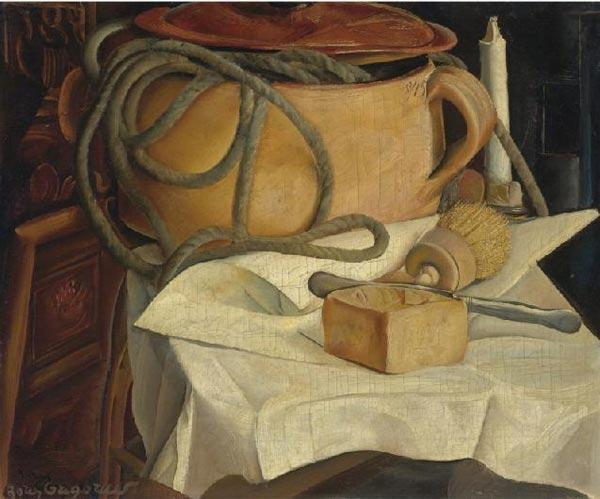 БОРИС ГРИГОРЬЕВ Натюрморт со свечой и горшком. 1920-е