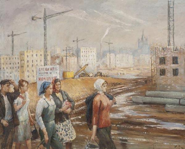 ЮРИЙ ПИМЕНОВ Бригада рабочих. 1968