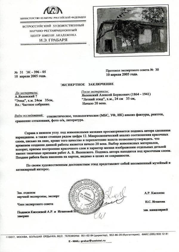 Фальшивое экспертное заключение: Явленский