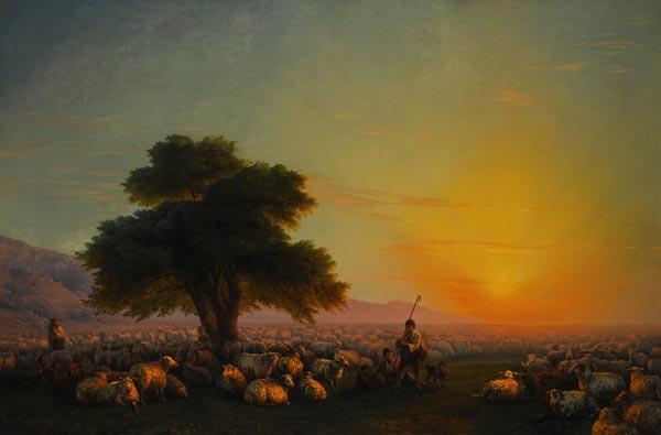 ИВАН АЙВАЗОВСКИЙ Крым. Пастухи со стадом на закате. 1859