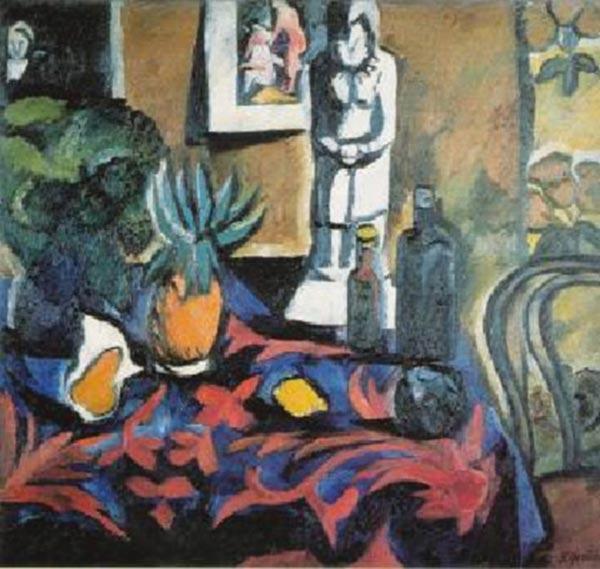 Рис. 2. Наталия Гончарова. Натюрморт с ананасом. Холст, масло. 129 × 145. ГТГ