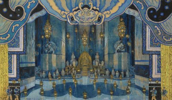АЛЕКСАНДР БЕНУА Эскиз декорации ко второму акту оперы И. Стравинского «Соловей». 1914