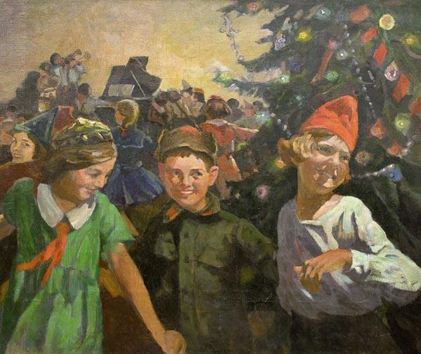 КОЛУПАЕВ Д.А. Новогодняя ёлка в школе. Конец 1940-х—  начало 1950-х