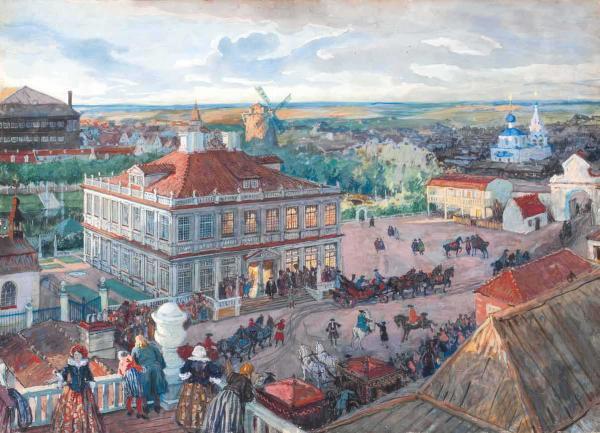 Бенуа А.Н. В Немецкой слободе. Отъезд Петра I из дома Лефорта. 1909