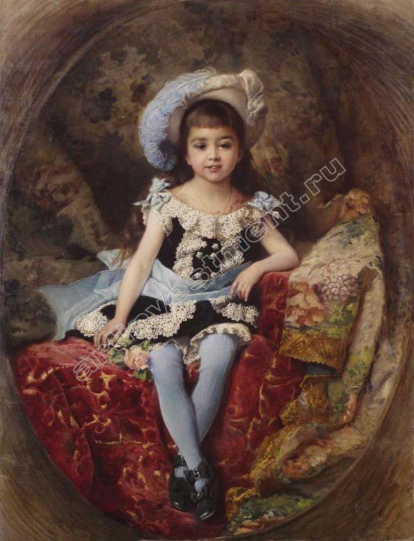 Маковский К.Е. Портрет девочки в шляпе со страусовым пером. 1879