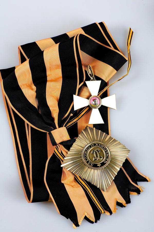 Лот из трех предметов. Комплект знаков ордена Святого Великомученика и Победоносца Георгия 1-й степени