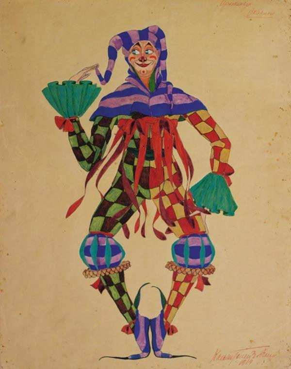 КАСЬЯН  ГОЛЕЙЗОВСКИЙ Скапино. Эскиз костюма к балету-пантомиме «Арлекинада» на музыку  С.Шаминад. 1919