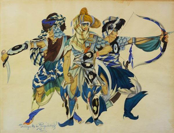 ПОЖИДАЕВ Г. А. Три воина. Эскиз костюмов к «Половецким пляскам» (?) из оперы А. П. Бородина «Князь Игорь». Середина 1920-х