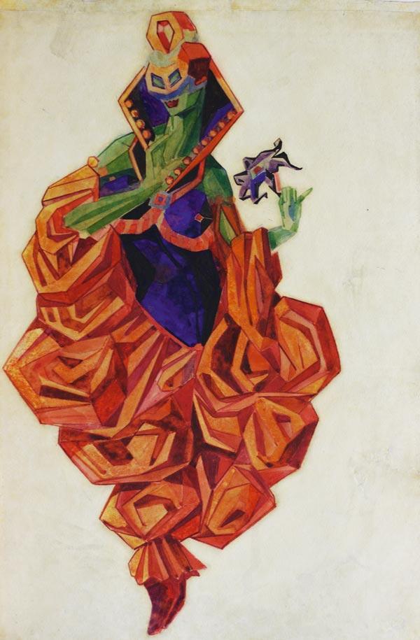 ПОЖИДАЕВ Г. А. Экзотическая маркиза. Эскиз костюма к балету Н. Н. Черепнина «Маска Красной смерти». 1919