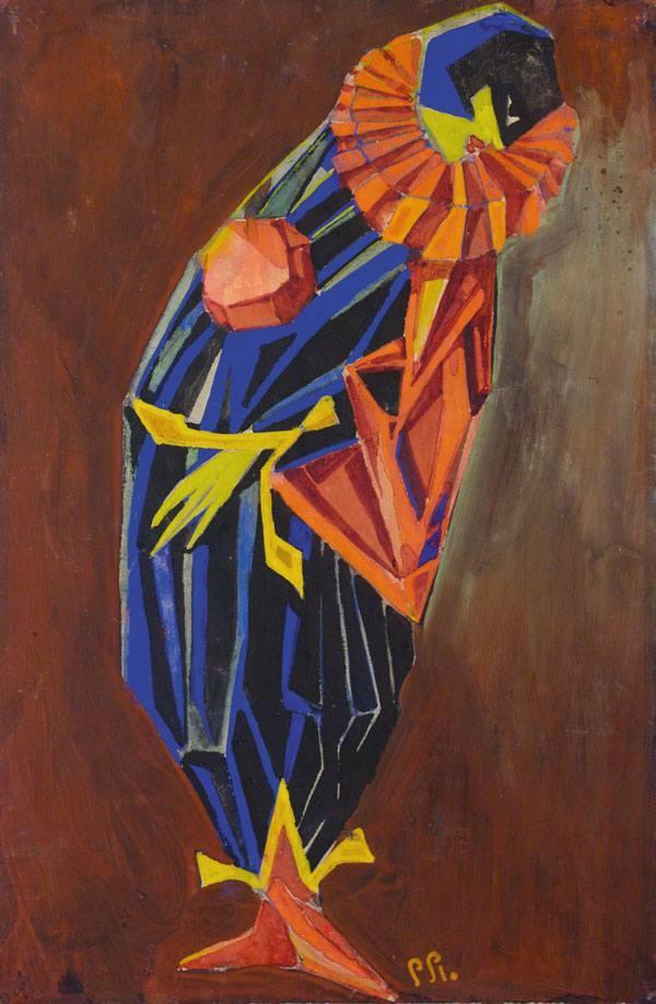 ПОЖИДАЕВ Г. А. Арлекин. Эскиз костюма к балету Н. Н. Черепнина «Маска Красной смерти». 1919