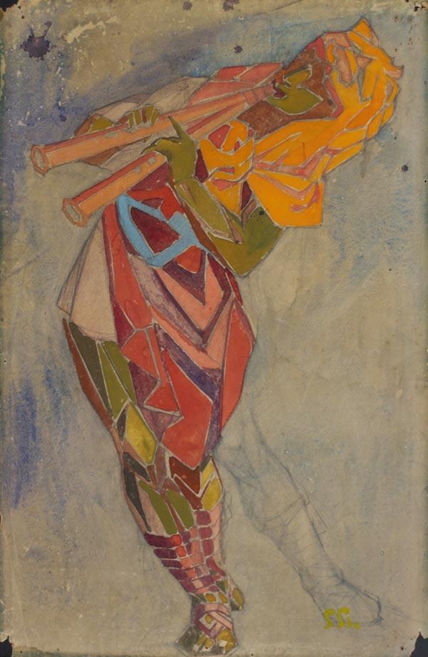 ПОЖИДАЕВ Г. А. Фавн с флейтой. Эскиз костюма к балету Н. Н. Черепнина «Маска Красной смерти». 1919