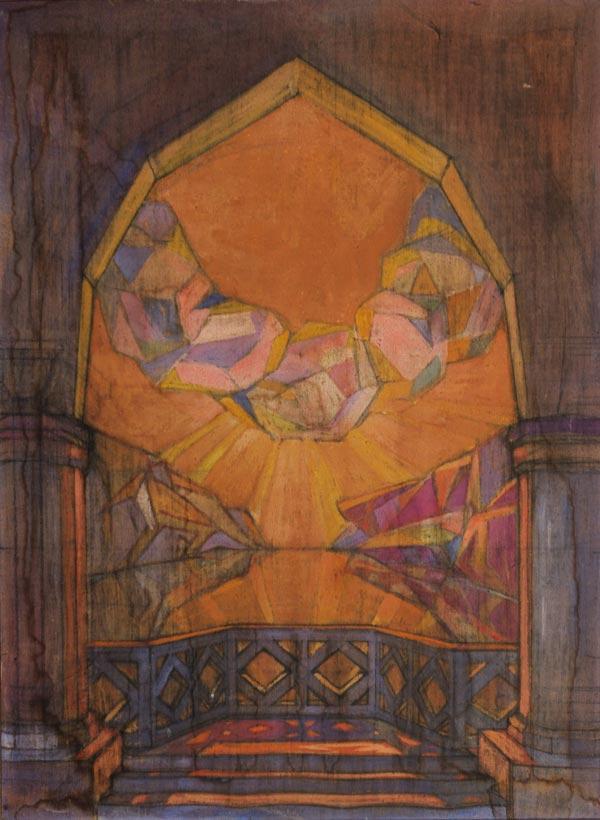 ПОЖИДАЕВ Г. А. Вид из окна на озеро. Эскиз задника для балета Н. Н. Черепнина «Маска Красной смерти». 1919